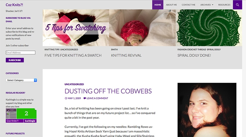 A Screen Shot of the Coz Knits Website
